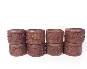 Vintage Decorative Wood Napkin Rings - Set of 8 Carved Wood Napkin Rings