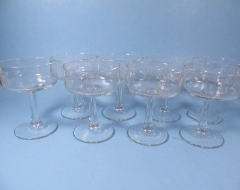 Vintage Set of 8 Monogrammed B Champagne Glasses Sherbets - Set of 8 Vintage Champagne Coupes