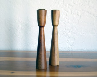 Vintage Midcentury Tall Wooden Candlesticks - Set of Two - Myrtlewood