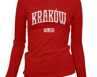 Women's Krakow Poland Long Sleeve Tee - S M L XL 2x - Ladies' Krakow T-shirt, Polska, Polish - 3 Colors