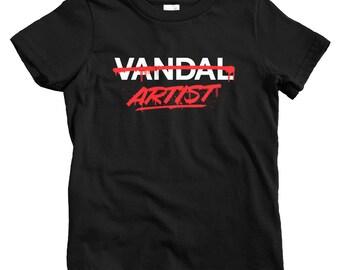 Kids Artist Not Vandal T-shirt - Baby, Toddler, and Youth Sizes - Art Tee, Graffiti, Street Art, Vandalism - 4 Colors