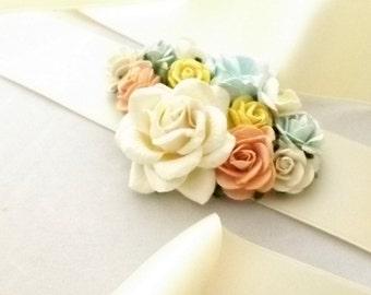 Pastel Corsage Wedding Sash Prom Brooch with flowers belt bridal bridesmaid