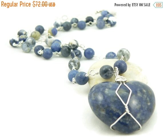 SALE Wire Wrapped Sodalite Heart Pendant Necklace - Sterling Silver - Denim Blue - Statement Necklace - Gemstone Necklace - Artisan Jewelry