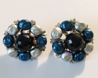 Vintage Blue and Silver Cluster Bead Clip On Earrings