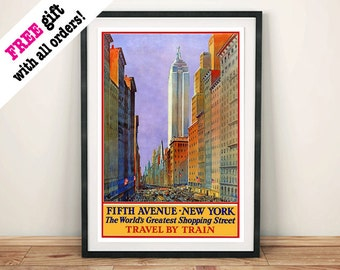 FiFTH AVENUE POSTER: Vintage New York Shopping Advert Art Print Wall Hanging