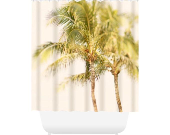 Palm Tree Shower Curtain for Beach Bathroom Decor