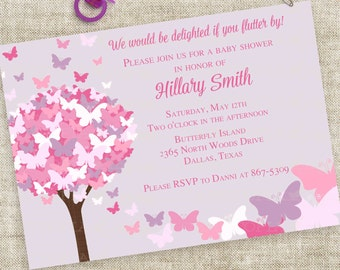 Pink and Purple Butterfly Baby Shower Invitation Personalized Custom Digital Printable File with Professional Printing Option