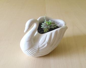Vintage Swan Planter Candle Holder Ceramic White Swan