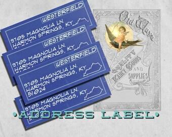 Blueprint Return Address Labels for Architect Engineer Contractor - 3 x 1 inch - Custom Printed Return Address Labels - Vintage Industrial