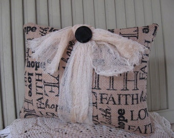 Pillow Burlap Faith Hope Love Lettering Tan and Black Gauze Bow Black Vintage Button 10x7 Home Decor Small Pillow