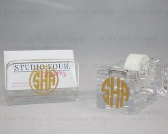 Personalized/Monogrammed Acrylic Business Card Holder & Tape Dispenser / Desk Accessory/ Monogram Office Supplies / Monogram Desk Accessory