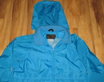 Vintage 1990s Eddie Bauer Neon Rave Hip Hop Hooded Windbreaker Jacket