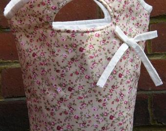 Taupe Fabric Bag with Burgundy and Pink Floral Pattern. Women's Handbag. Teens Bag. Girls Bag. Handbag. Purse