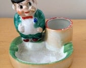 Vintage Ashtray Matchstick Holder Darling Fat Round Man With Pipe Incense Burner