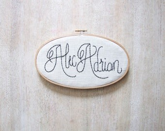 Modern Calligraphy Embroidery Name Sign