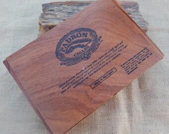 Wood Cigar Box  ~  Padron Cigar Box  ~  Crafting Supply Item Cigar Box