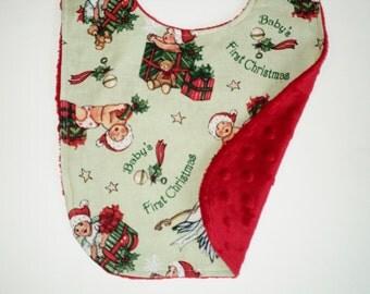 Christmas Bib, Babys First Christmas Bib, Holiday Bib, 1st Christmas Bib, Baby Toddler Bib, Xmas Bib, Minky Bib, Baby Boy Bib, Baby Girl Bib