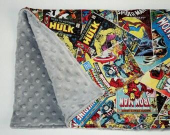 "Superhero Baby Blanket, Security Blanket 19""X23"" Lovey, Marvel Comics Blanket, Geek Baby Gift, Baby Shower Gift, Baby Boy Blanket, Minky"
