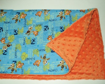 """Finding Nemo Baby Blanket - Security Blanket 19""""X 23"""" Lovey - Nautical Blanket - Baby Gift - Made To Order - Baby Shower Gift"""