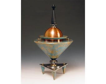 Urn 2. A contemporary vessel for the trip of a lifetime. Industrial steam punk lathe art. Fabulous hand painted finish.