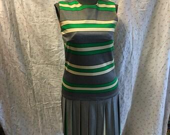 Darling grey 1960 sheath knit dress small dropped waist work dress