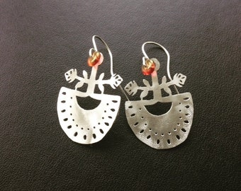 Silver Folk Earrings with glass beads