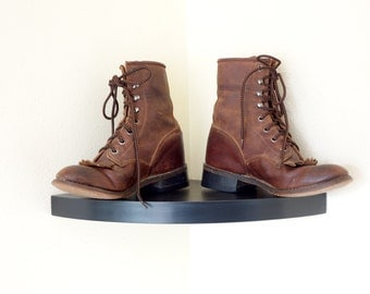 Vintage Roper Packer Western Distressed Leather  Lace Up  Riding Ankle  Boots  6