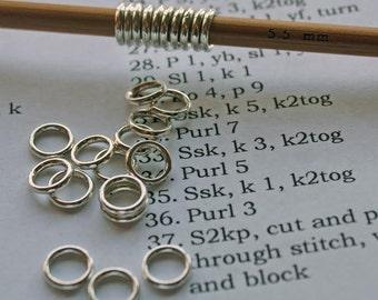 20 Sock/ shawl knitting stitch marker rings 5.5mm/ US 9 needles