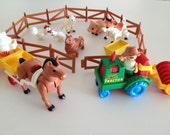 Playskool Lil Playmates Farm Toys Farmer Farm Animals Vintage 1980s