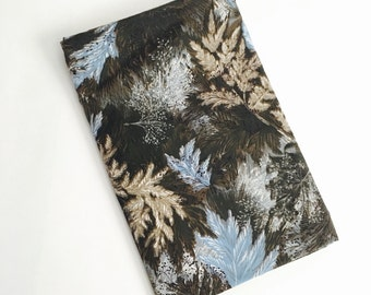Vintage 1950s Splashy Leafy Fabric - Bulk - Yardage - Blue Gray Brown Black Foliage