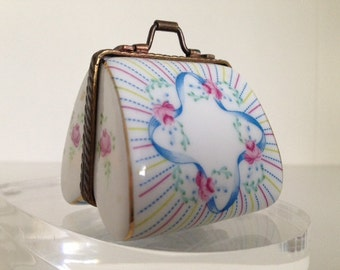 Limoges stile ,Porcelain Purse with rose,engagement and wedding ,anniversary gift box