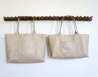 Belleville Tote  - Available in Two Sizes -Italian leather - Bone