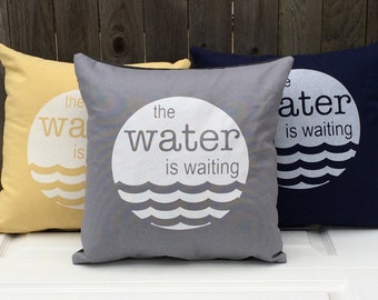 Modern Screenprinted Throw Pillow,The Water is Waiting, Screenprinted Pillow, Throw Pillow, Home Decor