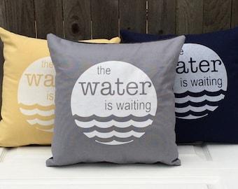 Modern Screenprinted Throw Pillow -The Water is Waiting - Screenprinted Pillow