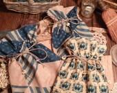Finished Goodies - Set of 4 DiTTY BaGs -Blue Civil War Era Fabric- OOAK