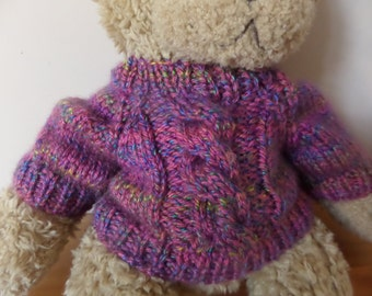 Teddy Bear Sweater - Hand knitted - Pink/Purple Chunky Cable design