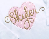 Girls' Customized Pink and Gold Valentine Heart Shirt. Valentine's Day shirt with personalized name.