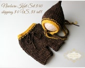 ready to ship newborn photography prop, brown mustard shorts and bonnet set for Newborn baby boy, photography prop, baby shower