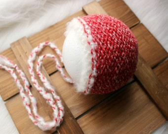 ready to ship,newborn photography prop, holiday winter christmas, luxury white red bonnet hat, fits 0-3 wks old baby, reversible