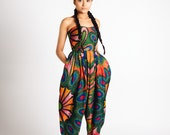 African Print Strapless Bianca Jumpsuit Red Peacock