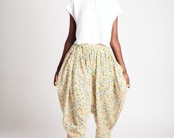 Indian Cotton Bianca Pants White Floral