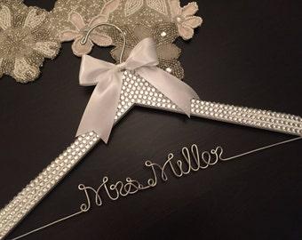 BLING Wedding Hanger, Bridal Hanger, Personalized Hanger, Brides Name Hanger, Bride Hanger, Bling Wedding, Rhinestone Sparkle Hanger