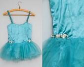 1920s Ballet Costume Blue Satin Tulle Skirt Carnival Dress