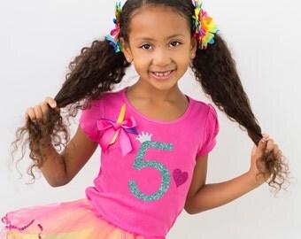 5th Birthday Outfit, 5th Birthday Girl, 5th Birthday Party, Rainbow Party, Rainbow Tutu Skirt, Rainbow Birthday Tutu Set, Personalized Shirt