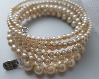 Bridal Something Old Vintage Pearl's Cascading Multiple Loop Layer Memory Wire Wrap Layering Bracelet