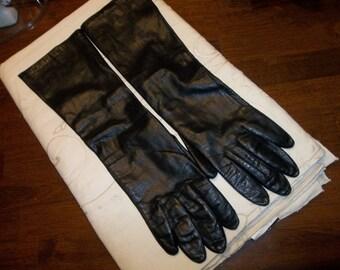 Mid Century Italian CALFSKIN vintage Gloves, Silk Lining.... Elbow length...OPERA...Free Shipping