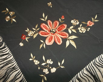 "Antique Black Silk Piano Shawl...HUGE 4' Across Plus 15"" Fringe...Wonderful Condition...FREE Shipping"