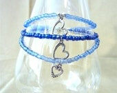 Something Borrowed, Something Blue Glass Beaded Anklet w/ Silver Heart Charm, Handmade Original Fashion Jewelry, Simple Custom Wedding