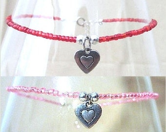 Glass Beaded Anklet w/ Double Layer Heart Charm, Handmade Original Fashion Jewelry, Classic Simple Elegant Romantic Ladies Valentine's Gift