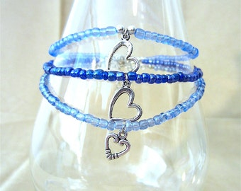 Glass Seed Bead Anklets w/Silver Heart Charms, Something Blue Ankle Bracelet, Beach Bridal Anklet Blue Anklet for Wedding Handmade Jewelry